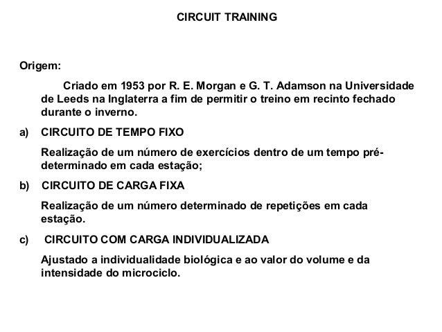 CIRCUIT TRAININGOrigem:         Criado em 1953 por R. E. Morgan e G. T. Adamson na Universidade     de Leeds na Inglaterra...