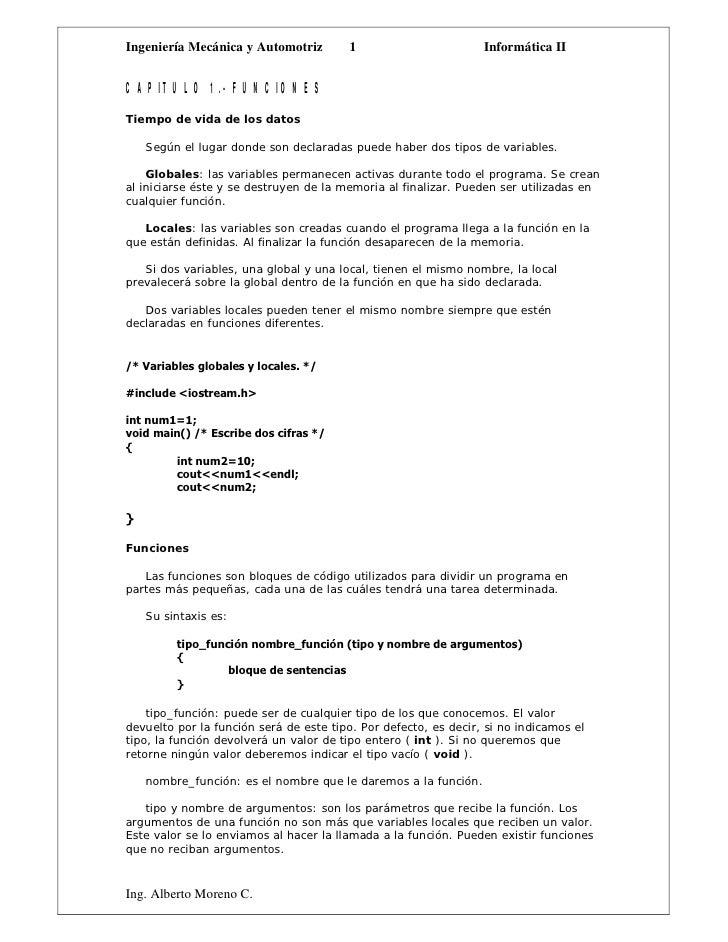Ingeniería Mecánica y Automotriz         1                       Informática IICAPITULO 1.- FUNCIONESTiempo de vida de los...