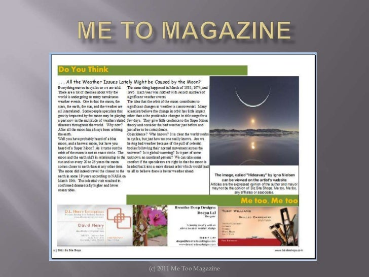 (c) 2011 Me Too Magazine<br />Me To Magazine <br />