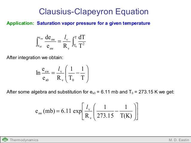 Metr3210 clausius-clapeyron