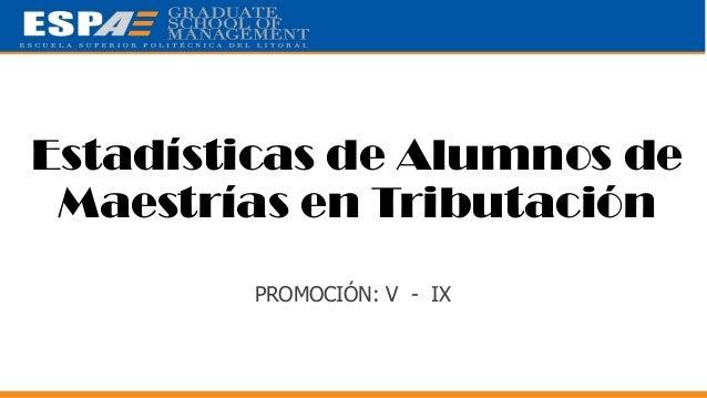 Estadísticas de Alumnos de Maestrías en Tributación (METRI) - PROMOCIÓN V  -  IX