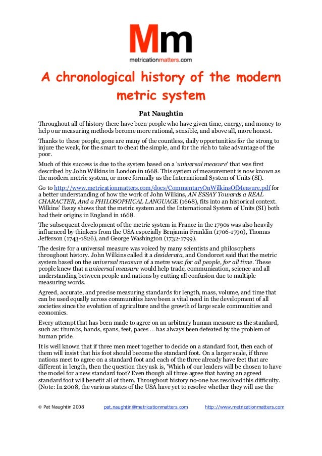 A chronological history of the modern             metric system                                       Pat NaughtinThrougho...