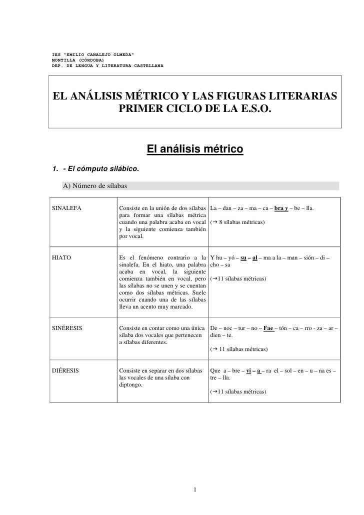 """IES """"EMILIO CANALEJO OLMEDA""""MONTILLA (CÓRDOBA)DEP. DE LENGUA Y LITERATURA CASTELLANAEL ANÁLISIS MÉTRICO Y LAS FIGURAS LITE..."""