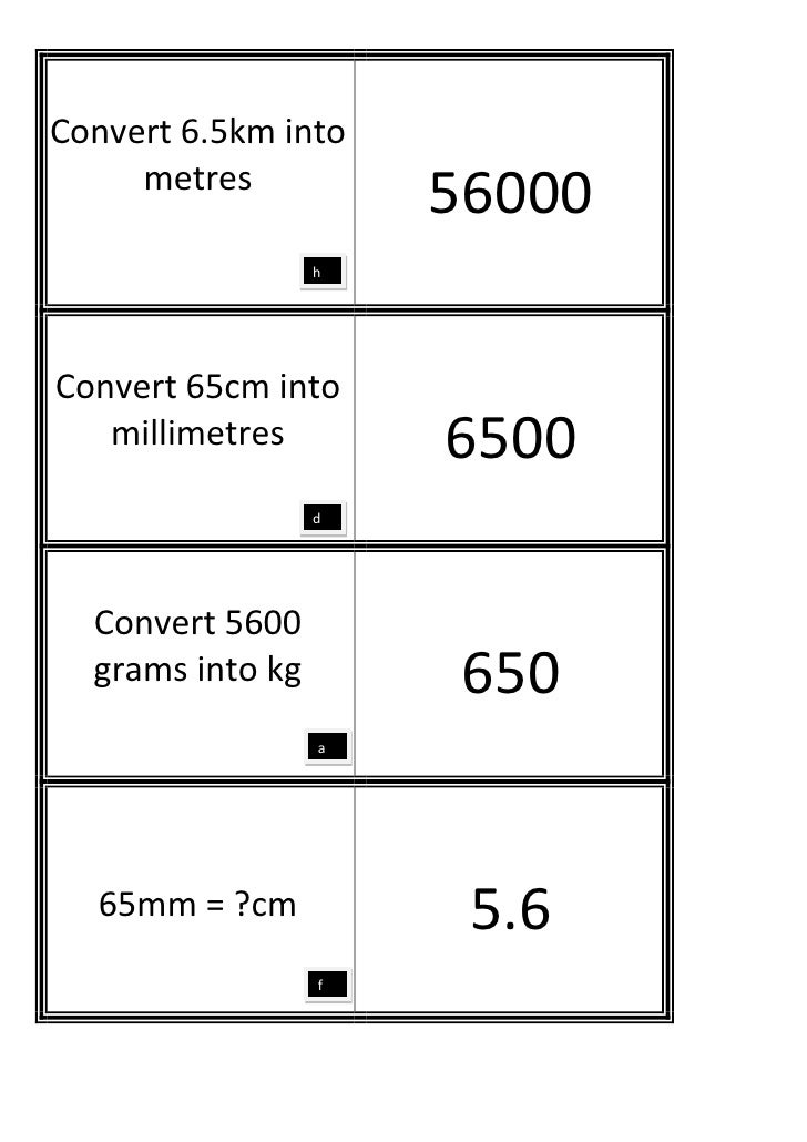 Convert 6.5km into     metres                      56000                  hConvert 65cm into   millimetres        6500    ...
