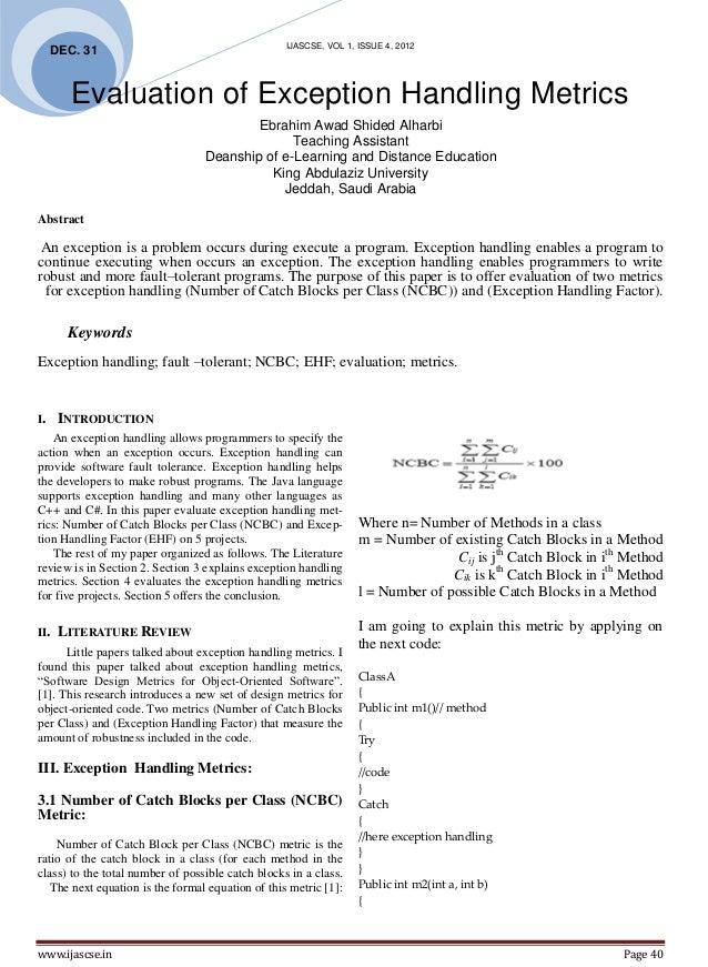 IJASCSE, VOL 1, ISSUE 4, 2012     DEC. 31        Evaluation of Exception Handling Metrics                                 ...