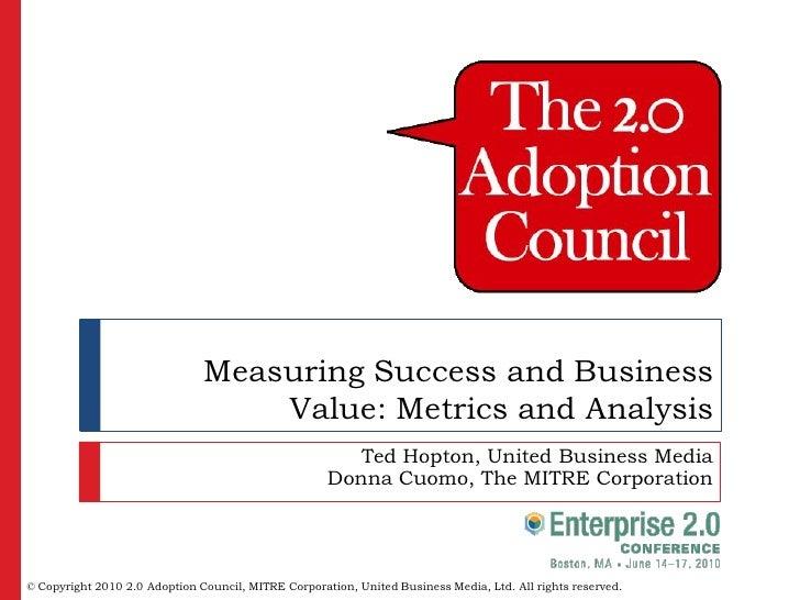 Enterprise 2.0 Black Belt Workshop: Measuring Success and Business Value