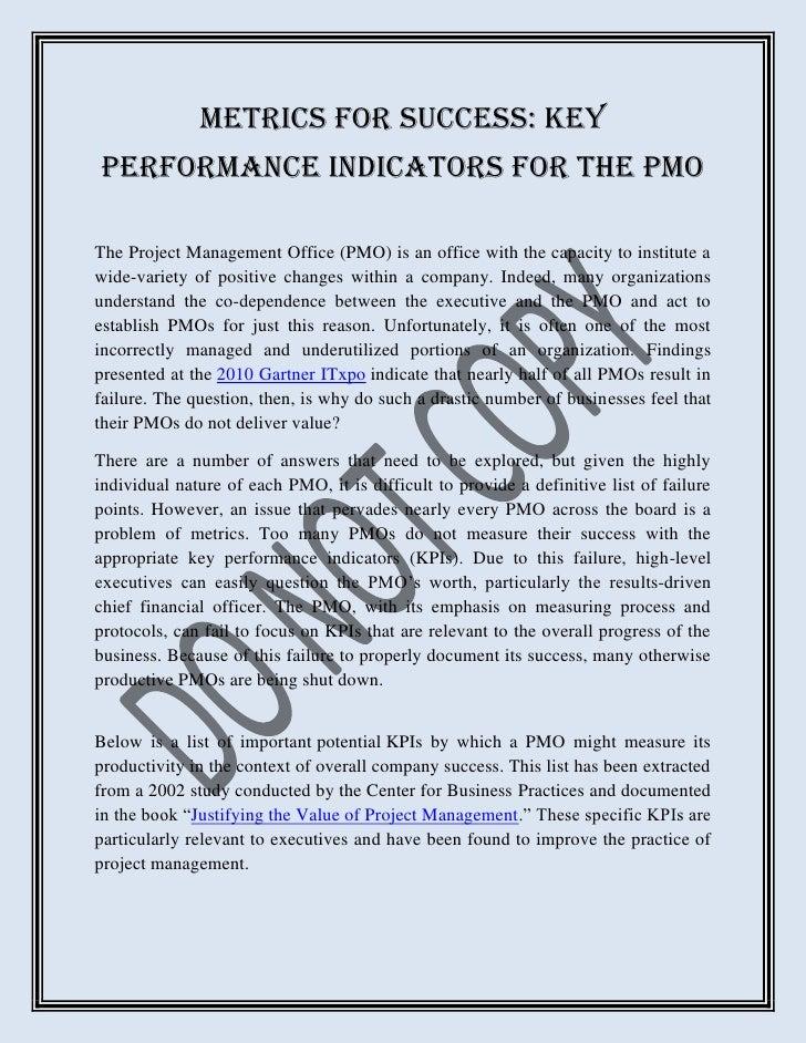 Metrics for Success: Key Performance Indicators for the PMO