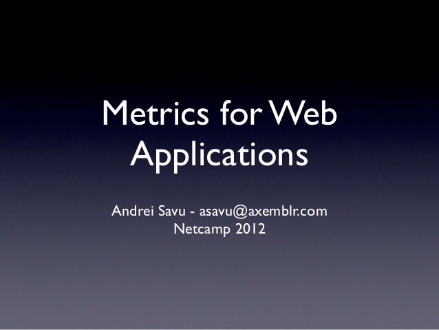 Metrics for Web Applications - Netcamp 2012