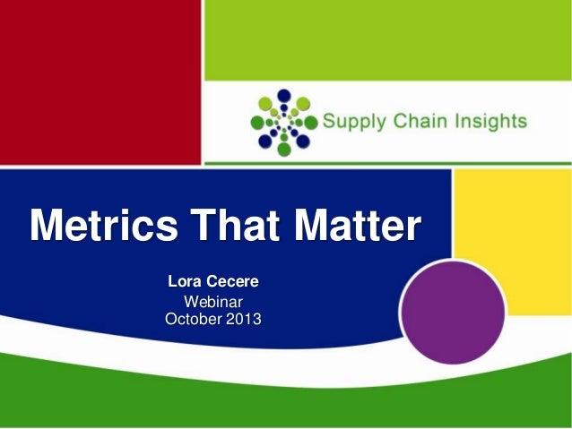 Metrics That Matter Webinar -October 10, 2013