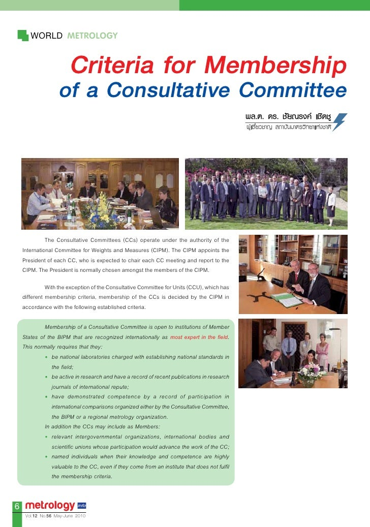 WORLD METROLOGY                          Criteria for Membership                    of a Consultative Committee           ...