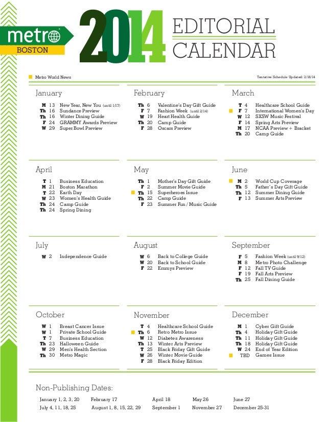 Metro Boston 2014 Editorial Calendar