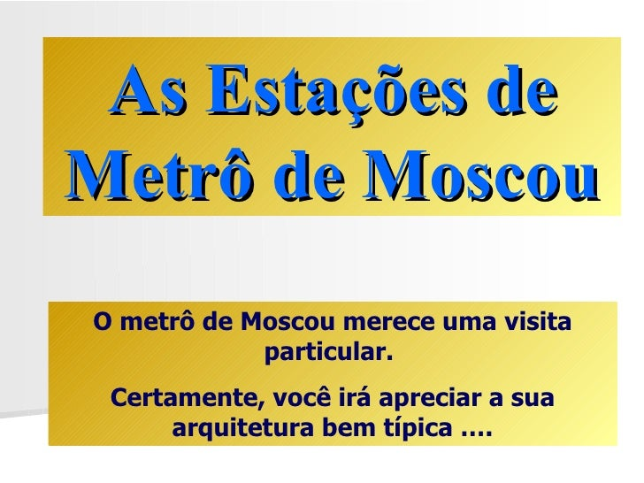 Metro De Moscou Na Russia