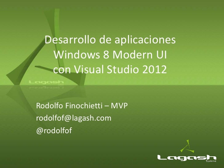 Desarrollo de aplicaciones Windows 8 Modern UI con Visual Studio 2012