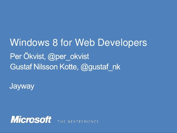 Windows 8 for Web Developers