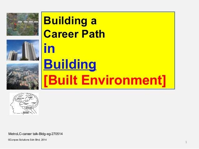 1 ©Conpex Solutions Sdn Bhd, 2014 Building a Career Path in Building [Built Environment] MetroLC-career talk-Bldg-eg-270514