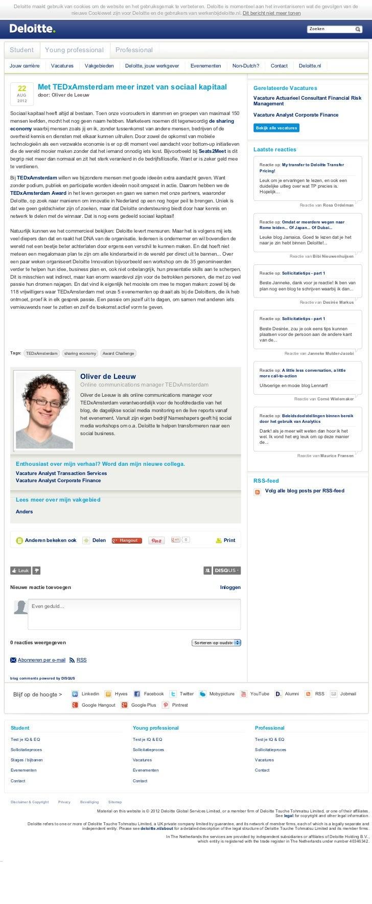 Met TEDxAmsterdam Meer Inzet Van Sociaal Kapitaal - Blog Oliver de Leeuw - Werken Bij Deloitte (22-08-2012)