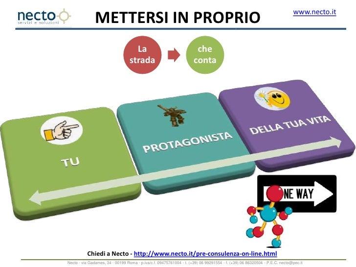 Chiedi a Necto - http://www.necto.it/pre-consulenza-on-line.html<br />Necto - via Gadames, 34 - 00199 Roma - p.iva/c.f. 09...