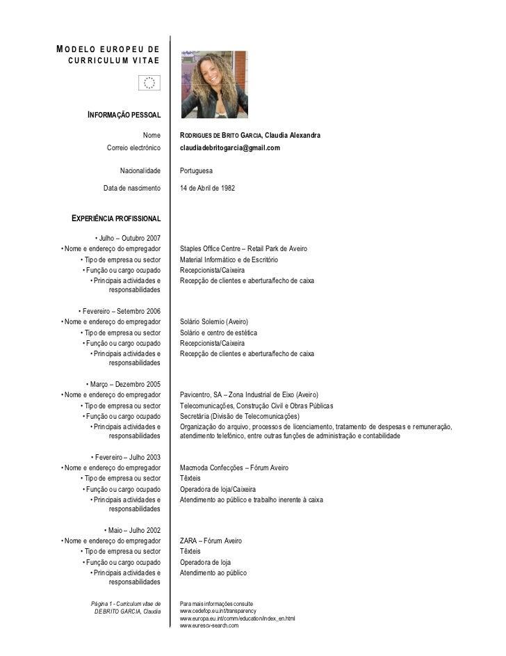 MODELO EUROPEU DE   CURRICULUM VITAE               INFORMAÇÃO PESSOAL                                   Nome       RODRIGU...