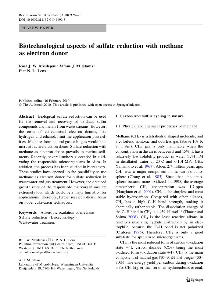 Meulepas, 2010, Biotechnological Aspects Of Sulfate Reduction With Methane As Electron Donor