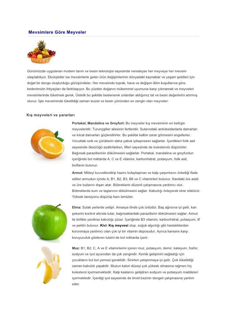 Mevsimlere göre meyveler