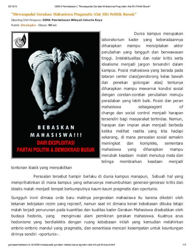 "20/12/13  GEMA Pembebasan | ""Mewaspadai Gerakan Mahasiswa Pragmatis Alat Elit Politik Busuk""  ""Mewaspadai Gerakan Mahasisw..."