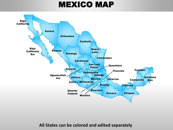 Mexico country editable powerpoint maps with states and counties