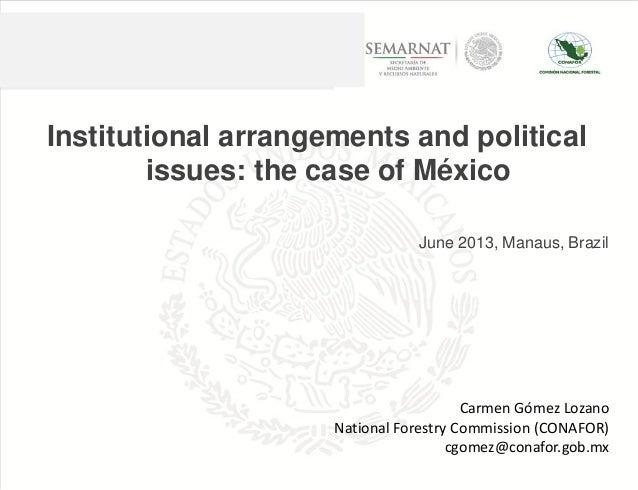 Institutional arrangements and political issues: the case of México June 2013, Manaus, Brazil Carmen Gómez Lozano National...