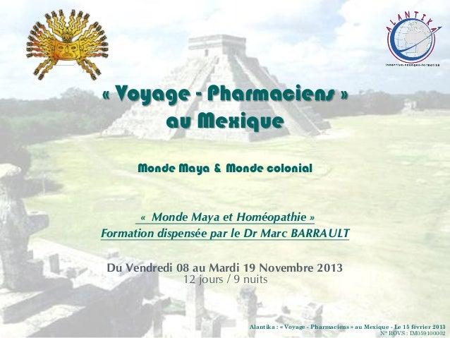 « Voyage - Pharmaciens »au MexiqueMonde Maya & Monde colonial« Monde Maya et Homéopathie »Formation dispensée par le Dr Ma...