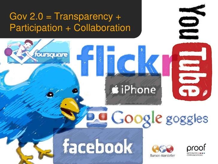 Gov 2.0 = Transparency + Participation + Collaboration<br /><br />