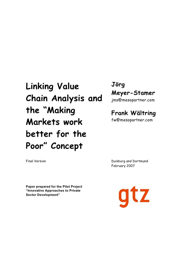 "Linking Value Chain Analysis and the """"Making Markets work better for the Poor"""" Concept"