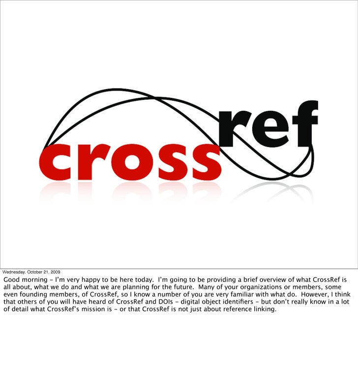 The Future of CrossRef: What's in it for Publishers?
