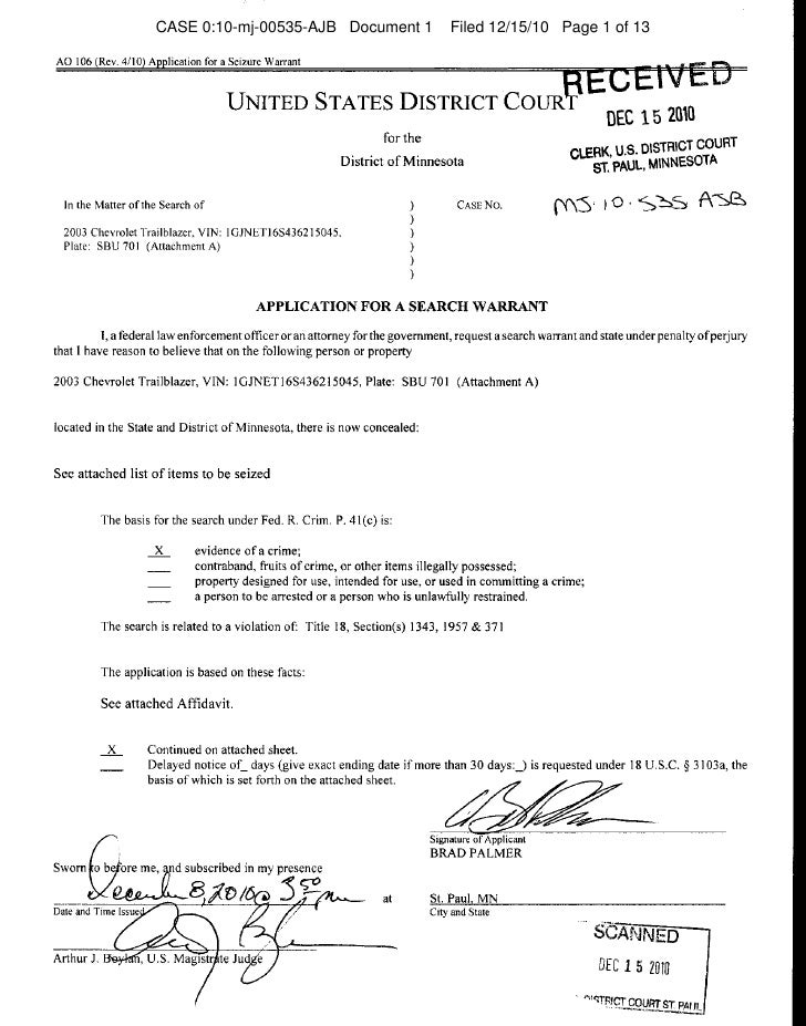 CASE 0:10-mj-00535-AJB Document 1   Filed 12/15/10 Page 1 of 13