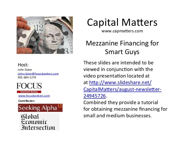 Mezzanine Financing for Smart Guys