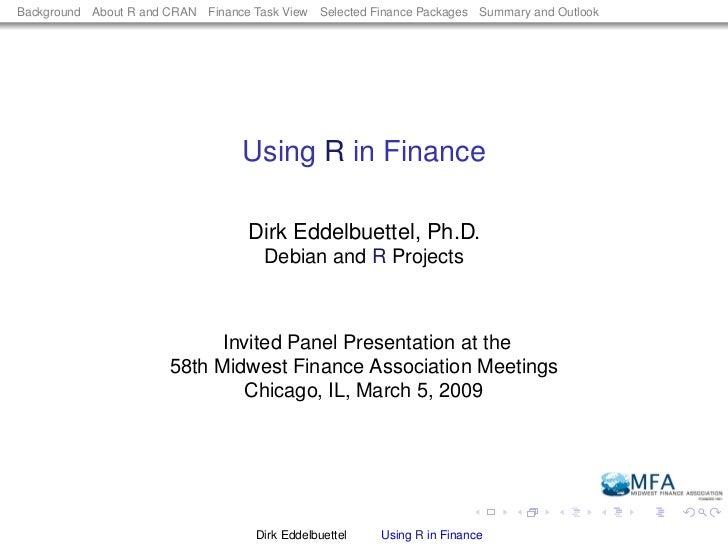 Using R in Finance