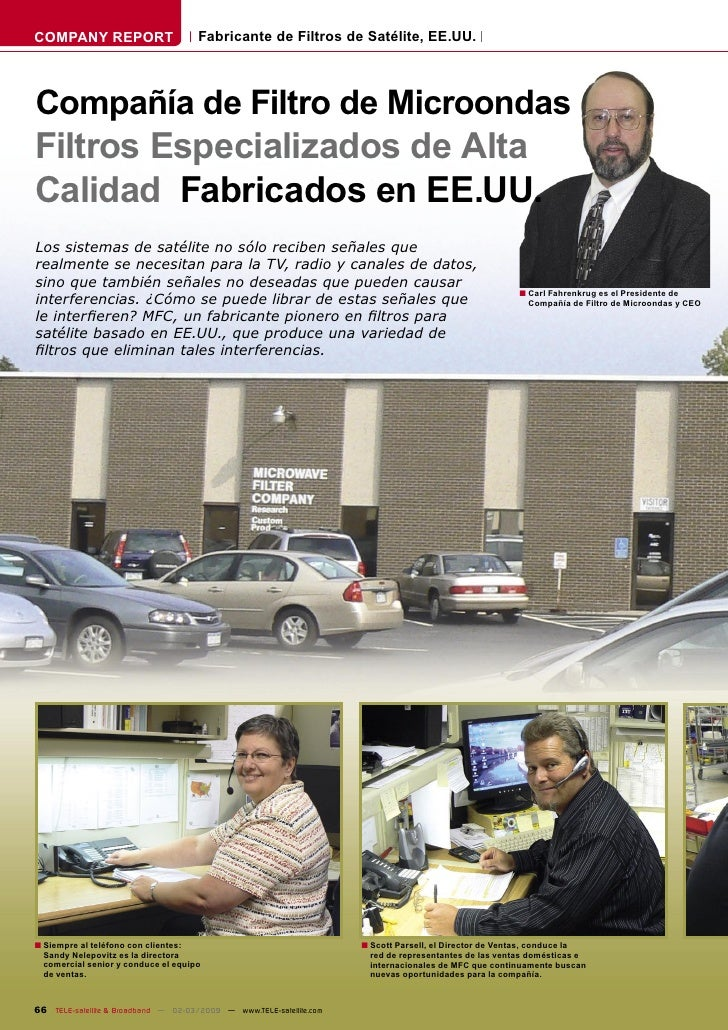 COMPANY REPORT                        Fabricante de Filtros de Satélite, EE.UU.    Compañía de Filtro de Microondas Filtro...