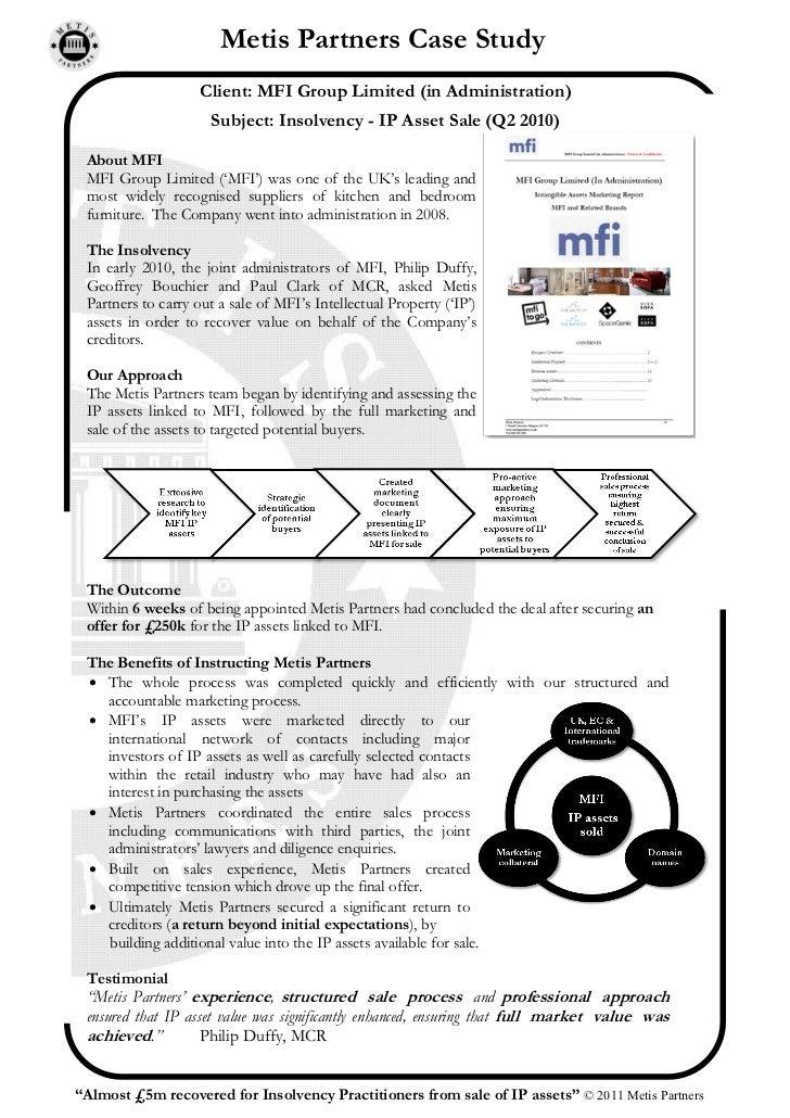 MFI IP Asset sale - Insolvency - Case study