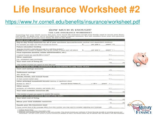 Life Insurance Needs Worksheet - Davezan