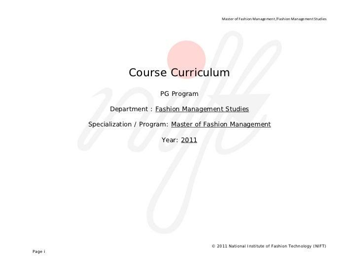 MasterofFashionManagement/FashionManagementStudies                       Course Curriculum                        ...
