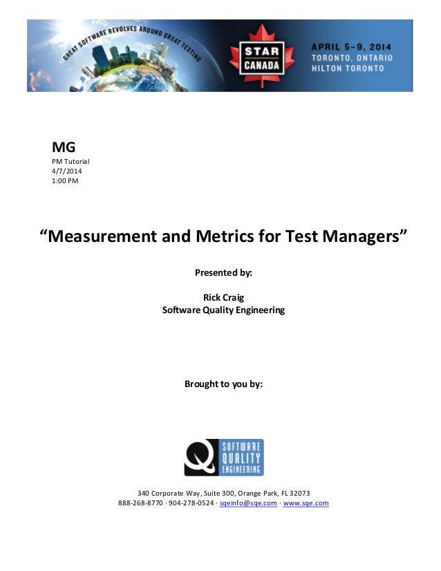 Measurement and Metrics for Test Managers