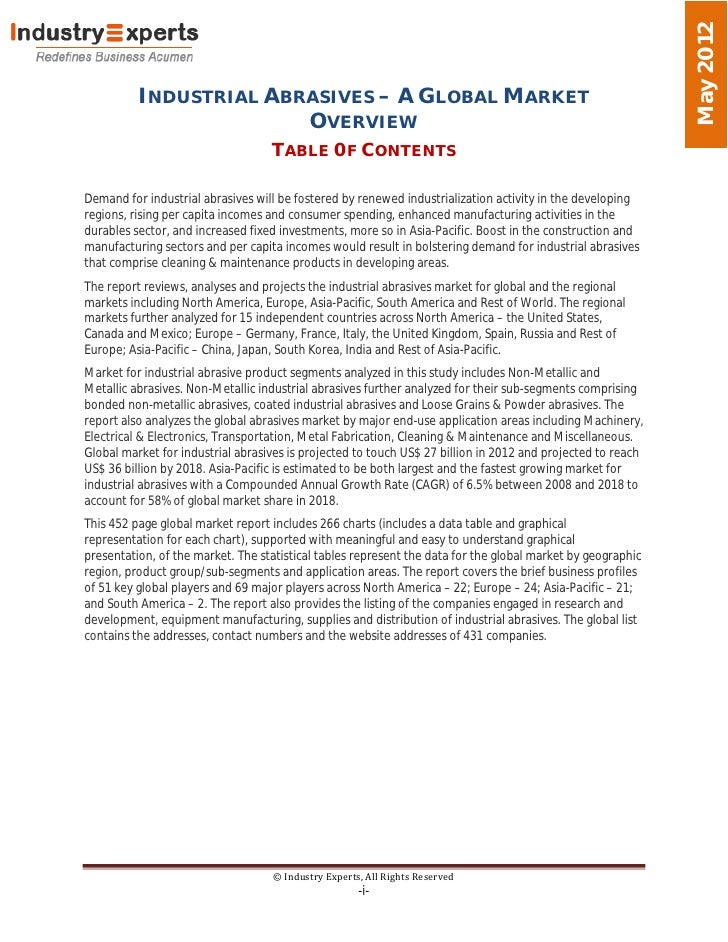 May 2012          INDUSTRIAL ABRASIVES – A GLOBAL MARKET                        OVERVIEW                                  ...
