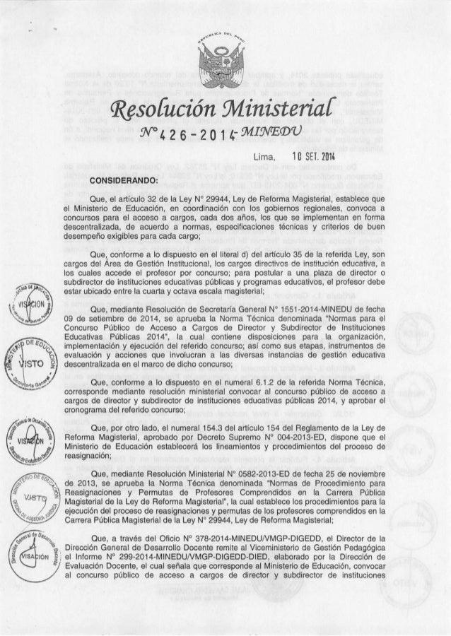 Rm 426 convocatoria y cronograma
