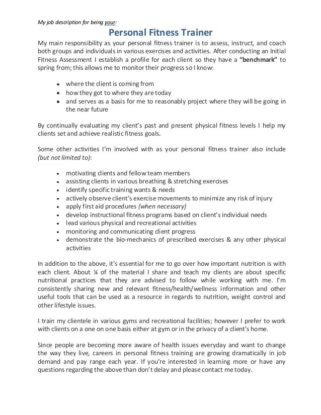 Gym Nutritionist Job Description  Hmb Inc