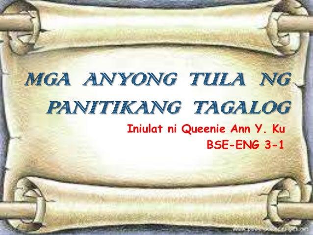 Mga  anyong  tula  ng panitikang  tagalog