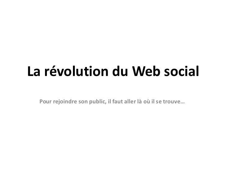 La révolution du Web social<br />Pour rejoindre son public, il faut aller là où il se trouve…<br />