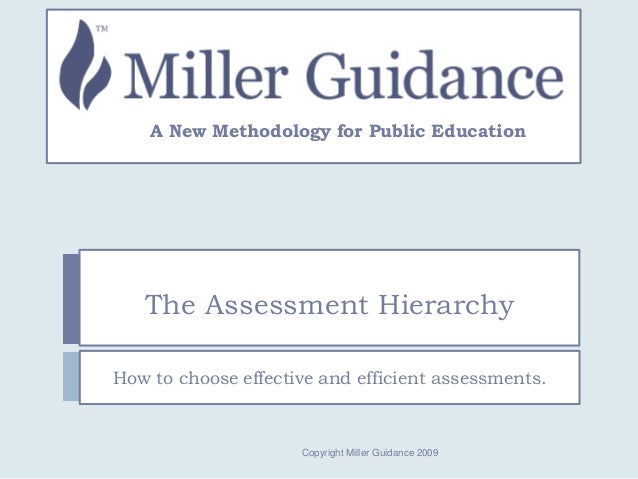 The Assessment Hierarchy How to choose effective and efficient assessments. A New Methodology for Public Education Copyrig...