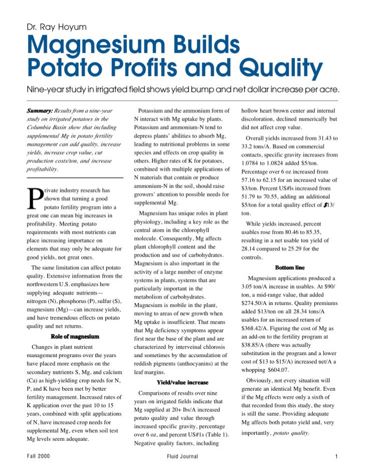 Build Your Potato Profits and Quality with Magnesium