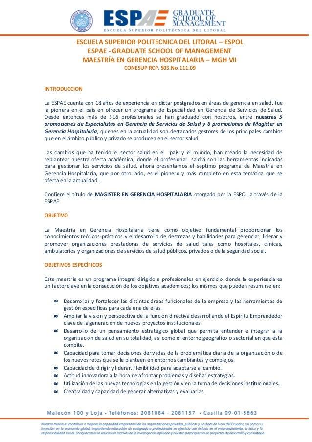 ESCUELA SUPERIOR POLITECNICA DEL LITORAL – ESPOLESPAE - GRADUATE SCHOOL OF MANAGEMENTMAESTRÍA EN GERENCIA HOSPITALARIA – M...