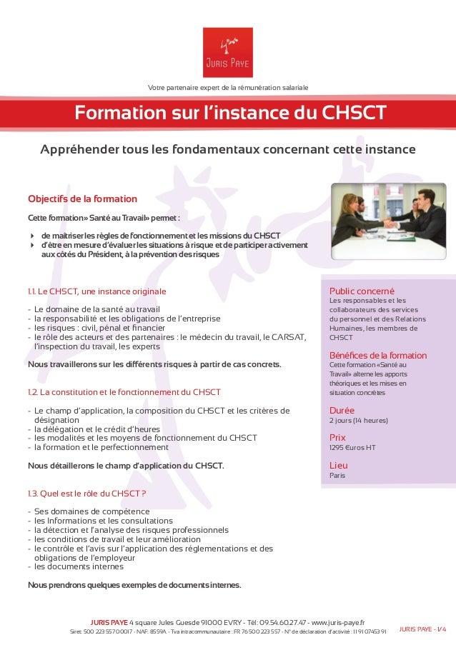 Votre partenaire expert de la rémunération salariale  Formation sur l'instance du CHSCT  Appréhender tous les fondamentaux...