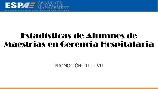 Estadísticas de Alumnos de Maestrías en Gerencia Hospitalaria PROMOCIÓN: III - VII