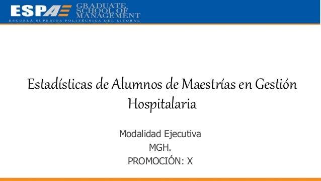 Estadísticas de Alumnos de Maestrías en Gerencia Hospitalaria (MGH) - PROMOCIÓN VII